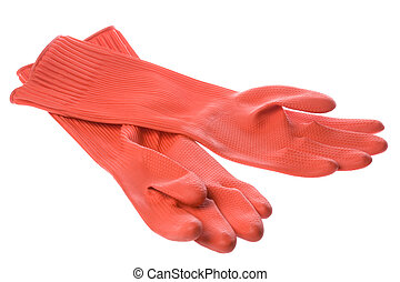 Red Rubber Gloves Isolated - Isolated image of a pair of red...