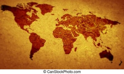 Map of the world. Flying over the world. - Map of the world....