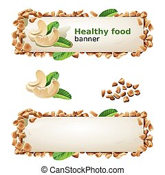 Set banners with cashew and ground nuts. - Set of decorative...