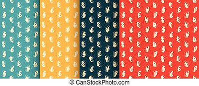 Seamless retro patterns with currency symbols. Vector. -...