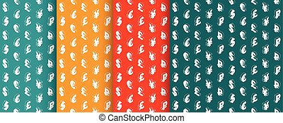 Seamless patterns with currency symbols. Vector. - Seamless...
