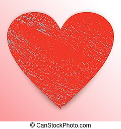 Heart. Grunge red shape isolated on pink background with...