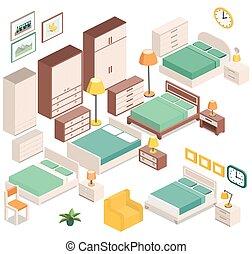 Isométrico,  vector, gráfico, dormitorio, muebles