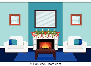 Living room design with fireplace and tree branch. Vector...