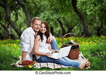Happiness of the enamoured - Happy couple on picnic with the...