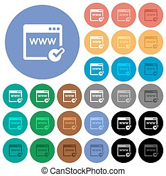 Domain registration round flat multi colored icons - Domain...
