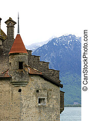 Chillon castle on the bank of lake