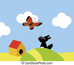 illustration of the small dog and butterflies