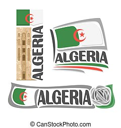 Vector logo Algeria, 3 isolated images: stone tower in Beni...