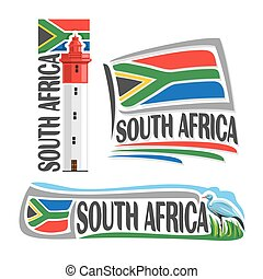 Vector logo South Africa, 3 isolated images: lighthouse at...