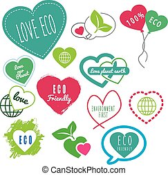 series of eco friendly love our earth logos