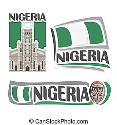 Vector logo Nigeria, 3 isolated images: cathedral church...