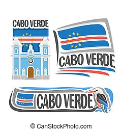 Vector logo Cabo Verde, 3 isolated images: catholic church...