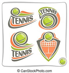 Vector abstract logo lawn Tennis Ball, decoration sign...