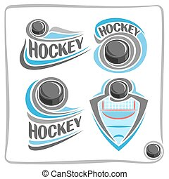 Vector abstract logo Hockey Puck, decoration sign sports...