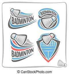 Vector abstract logo Badminton Shuttlecock, decoration sign...