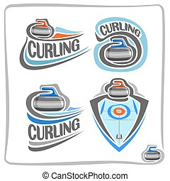 Vector abstract logo Curling Stone on blue ice rink with...