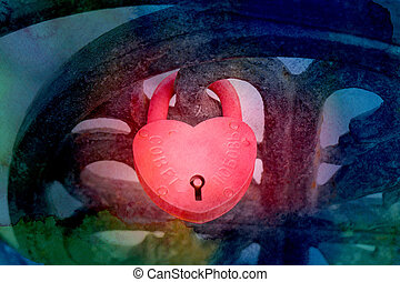 Photo of bright red heart lock on the fence