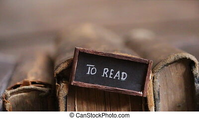 books to read label, education idea, old books - books to...