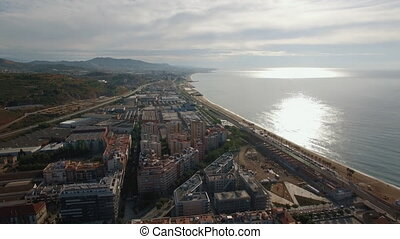 Aerial view of landmarks with beach, sea, buildings,...