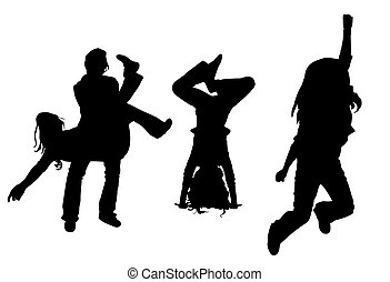 vector silhouette dancing girl isolated on white background