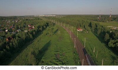 Train in the countryside, aerial view