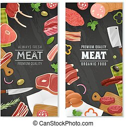 Meat Market Banners Set