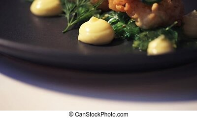 close up of prawn salad with jalapeno and wakame - food, new...
