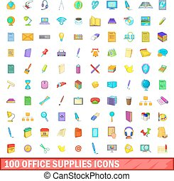 100 office supplies icons set, cartoon style