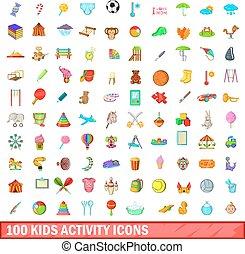 100 kids activity icons set, cartoon style