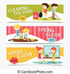 Kids Cleaning Horizontal Banners