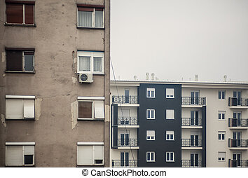 Old And New Buildings - Abstract composition of buildings,...