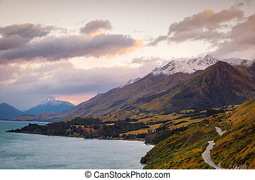 Scenic view from Bennetts bluff viewpoint, near Glenorchy,...