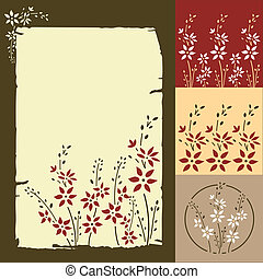 Floral greeting card and patterns