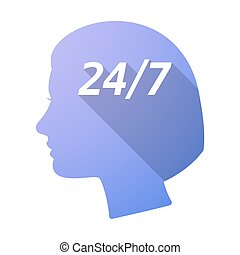 Isolated female head with    the text 24/7