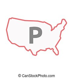 Isolated line art USA map with    the letter P