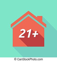 Long shadow house with the text 21+ - Illustration of a long...