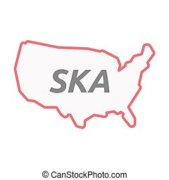 Isolated line art USA map with the text SKA - Illustration...