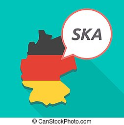 Long shadow Germany map with the text SKA - Illustration of...