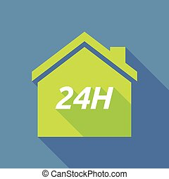 Long shadow house with the text 24H - Illustration of a long...