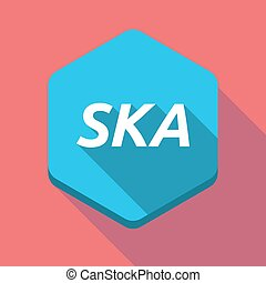 Long shadow hexagon with the text SKA - Illustration of a...