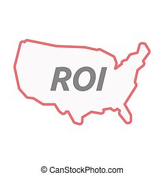 Isolated line art USA map with    the return of investment acronym ROI