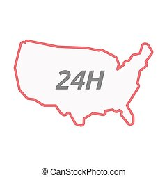 Isolated line art USA map with the text 24H - Illustration...