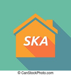 Long shadow house with the text SKA - Illustration of a long...