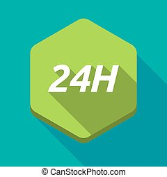Long shadow hexagon with the text 24H - Illustration of a...