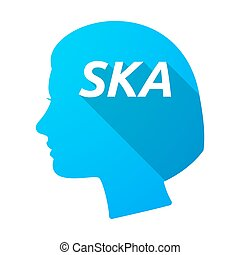 Isolated female head with the text SKA - Illustration of an...