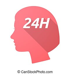 Isolated female head with the text 24H - Illustration of an...