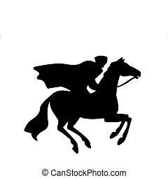 Wektor, sylwetka, jeździec
