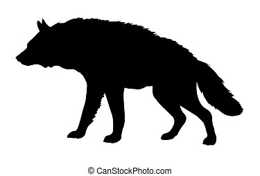 vector silhouette hyena isolated on white background