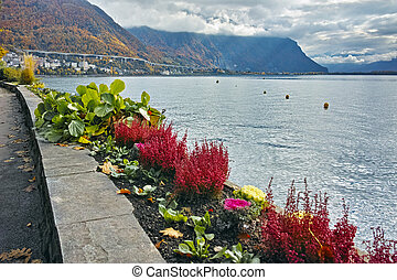 Autumn view of embankment of Montereux, Switzerland - Autumn...